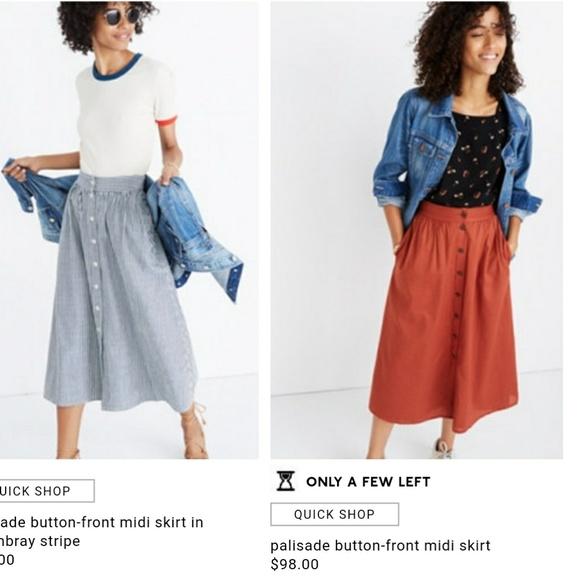 fdedf7bfac Madewell Skirts | Palisade Button Up Midi Skirt | Poshmark